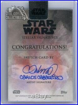 Chewbacca 2018 Topps Star Wars Stellar Signatures Artist Sketch Autograph Card