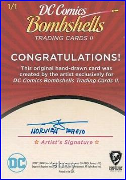 DC Comics Bombshells 2, Artist Sketch Card 1/1 Norvierto Payupan Basio