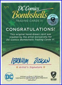 DC Comics Bombshells III Artist Proof Sketch Card 1/1 Ibrahim Ozkan Joker (c)