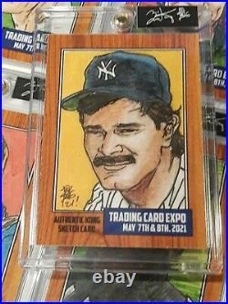 DON MATTINGLY 1/1 Trading card Expo May 7-8 Topps artist Brian Kong Sketch card