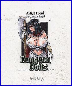 DUNGEON DOLLS DARK ELVES LARGE 5x4 NESTOR CALORIO JR ARTIST PROOF SKETCH CARD