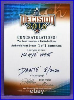 Decision 2020 Series 2 RARE 1/1 Kanye West Color Sketch Card by Artist Dante