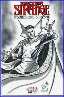 Doctor Strange Sketch Cover Signed And Remarked By Super-star Sketch Card Artist