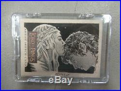 GALADRIEL & FRODO Lord of the Rings Masterpieces II ARTIST SKETCH CARD 1/1 ZQ