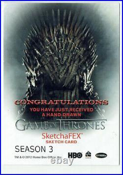 Game of Thrones Season 3 Sketch Card 1.1 Artist ATC Adam Bekah Cleveland