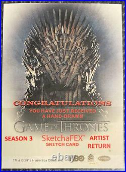 Game of Thrones Season 3 Sketch card sketchafex ARTIST RETURN Charles Hall