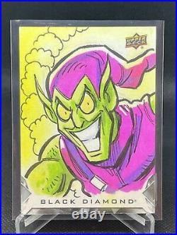 Green Goblin Sketch Card 1/1 Artist Auto 2021 Upper Deck Marvel Black Diamond