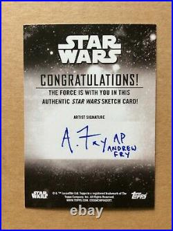 Grogu Baby Yoda Topps Star Wars Holocron Sketch Card AP Artist Proof Andrew Fry