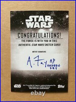 Grogu Baby Yoda Topps Star Wars Holocron Sketch Card AP Artist Proof Andrew Fry