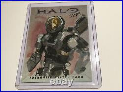 Halo Marvel Trading Card 2007 Topps Authentic Artist Sketch JKM RARE 1/1 Spartan