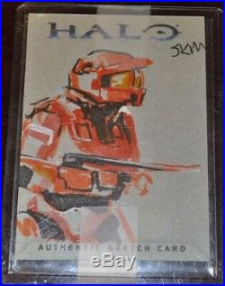 Halo Red Team Trading Card 2007 Topps Authentic Artist Sketch by JKM RARE 1/1
