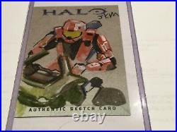 Halo Trading Card 2007 Topps Authentic Artist Sketch JKM RARE 1/1 Red team