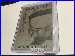 Halo XBOX Trading Card 2007 Topps Jason Hughes Artist Sketch 1/1 Master Chief