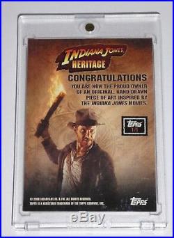 Indiana Jones Heritage Artist Sketch Card Cowan 1/1 Rare Topps 2008