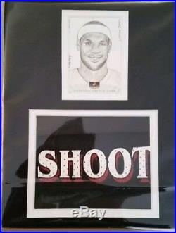 Lebron james 1 of 1 sketch card signed by artist and LBJ Game worn Jersey piece