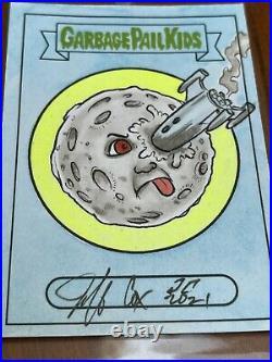 MOON SKETCH CARD by GPK Artist JEFF COX GARBAGE PAIL KIDS (1/1) RARE