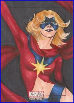 Marvel Bronze Age Color Sketch Card by Artist Unknown Ms Marvel