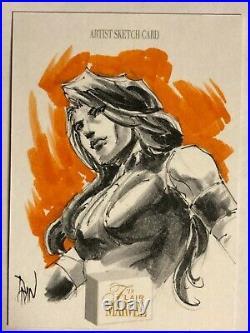 Marvel Flair hand-drawn artist sketch card Psylocke