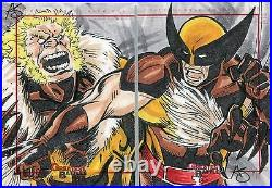 Marvel Greatest Battles Panel Sketch Card By Unknown Artist