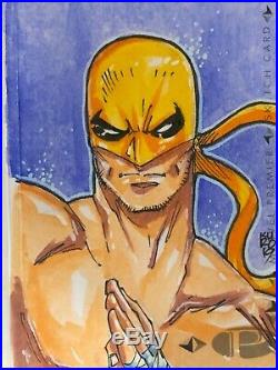 Marvel Premier hand-drawn artist sketch card 2 panel Iron Fist