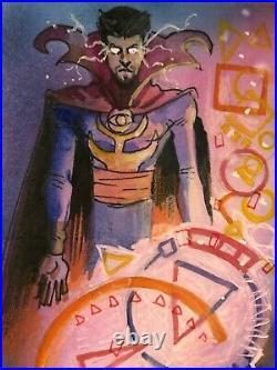 Marvel Premier hand-drawn artist sketch card 3 panel Doctor Strange