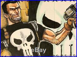 Marvel Premier hand-drawn artist sketch card 3 panel Punisher / Jigsaw