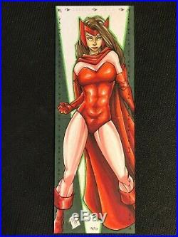 Marvel Premier hand-drawn artist sketch card 4 panel Scarlet Witch