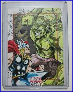 Marvel Universe Thor vs Hulk SketchaFEX Artist Sketch Card