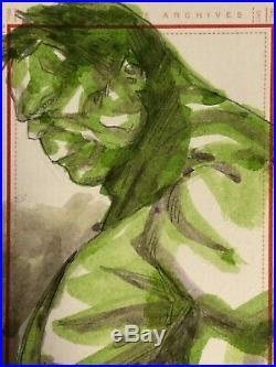 Marvel Universe hand-drawn artist sketch card Hulk