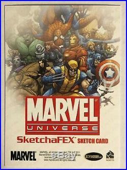 Marvel Universe hand-drawn artist sketch card Spider-Man