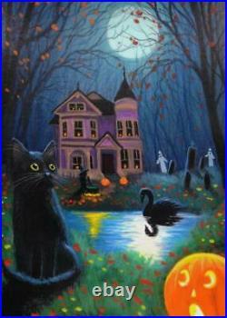 Original Painting Aceo Sketch Card Bartholomew's Halloween By Bridget Voth