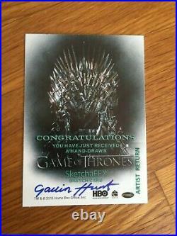 RARE 2015 Game of Thrones Drogon ARTIST RETURN Sketch Card by Gavin Hunt