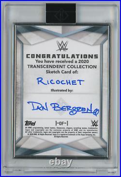 RICOCHET 2020 Topps WWE Transcendent ARTIST SKETCH CARD by DAN BERGREN 1/1