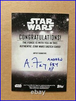 Rey Topps Star Wars Holocron Sketch Card AP Artist Proof Andrew Fry