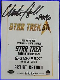 STAR TREK 50th Anniversary ARTIST RETURN Sketch Card 1/1 by Charles Hall