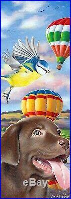Set of 2 Original ACEO sketch card Dog Labrador Puppy Balloon Bird M. Mishkova