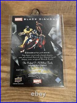 She Hulk Sketch Card 1/1 Artist Auto JOHN SLOBODA 2021 Marvel Black Diamond