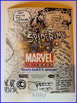 Spider-man Venom Marvel universe Sketch Card Rittenhouse Artist Jeremy Treece