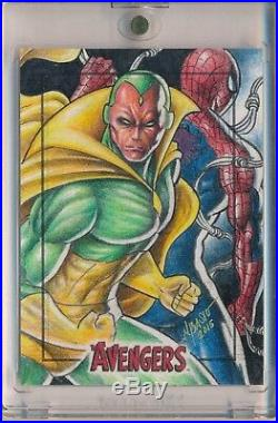 Spider-man Vision The Avengers SketchaFEX 1/1 Sketch Card Artist Norvien Basio