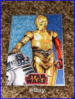 Star Wars Artist Sketch Card 1/1 C-3PO and R2-D2 by Jm Smith Perfect