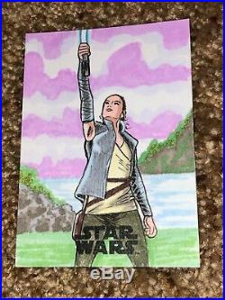 Star Wars Artist Sketch Card 1/1 Rey by Nathan O Perfect