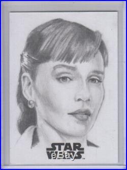 Star Wars Emilia Clarke Sketch Artist Proof Card by Brent Ragland