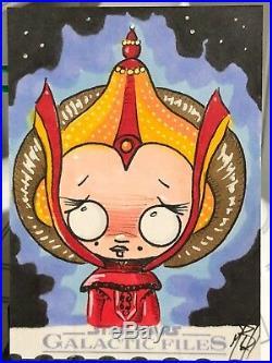 Star Wars Galactic Files Artist Sketch Card 1/1 Padme Amidala by Sugar Fueled