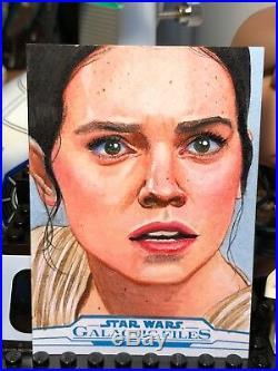 Star Wars Galactic Files Artist Sketch Card 1/1 Rey by Louise Draper