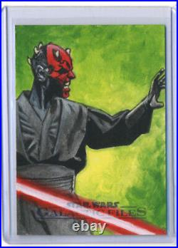 Star Wars Galactic Files DARTH MAUL Sketch Card ARTISTS RETURN AP Ted Dastick Jr