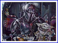 Star Wars Holocron Mandalorian Baby Yoda Grogu Artist Proof Sketch Card Painting