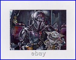 Star Wars Mandalorian Baby Yoda Grogu Artist Proof Sketch Card Acrylic Painting
