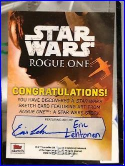 Star Wars Rogue One Artist Sketch Card 1/1 Rebel Base by Eric Lehtonen