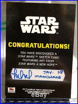 Star Wars Rogue One Artist Sketch Card 1/1 Rebel Base by Vader by Jay Manchand