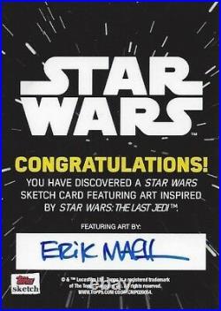 Star Wars The Last Jedi Artist Sketch Card Erik Maell